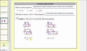 solving literal equations part 1 l7