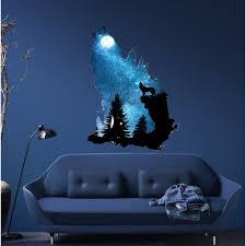 Shop Wolf Howling At The Moon Wall Decal Modern Wall Art Sticker Overstock 31734936