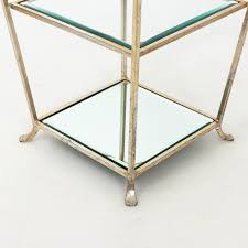 three tier metal and silver leaf side table