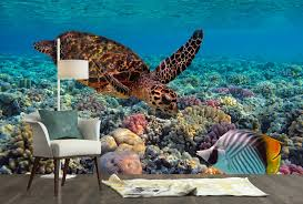3d Colorful Coral Reef And Sea Turtle Bathroom Floor Sticker Wall Mural Decor Home Garden Wallpaper Rolls Sheets