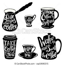 vector cute coffee quotes and sayings typography set vector