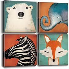 Amazon Com Toddler Wall Decor Cartoon Animals Canvas Prints Wall Art For Kids Room Home Decoration Cute Polar Bear Elephant Fox Zebra Painting Pictures Boys Room Framed Artwork Bedroom Bathroom 12x12 Inch 4pcs