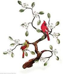 Amazon Com Wall Art Cardinal Pair In Flowering Dogwood Tree Metal Wall Sculpture Bird And Floral Wall Decor Everything Else