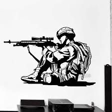 Marine Soldier Wall Decals Gun Silhouette Wall Decal Vinyl Adhesive Home Decor Army Wall Stickers Living Room H425 Wall Stickers Aliexpress