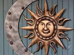 outdoor metal wall art sun and moon
