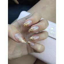 Champagne Gold And Clear Ombre Acrylic Nails My Wedding Nails