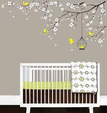 Baby Nursery Decal Birdcage Flying Birds Decals Cherry Blossom Tree Branch Wall Sticker Baby Girl Nursery Wall Decals Baby Nursery Decals Baby Girl Room Decor