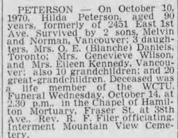 Obituary for Hilda PETERSON (Aged 90) - Newspapers.com