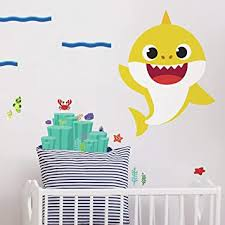 Amazon Com Roommates Baby Shark Peel And Stick Giant Wall Decals Yellow Kids Room Decor Home Improvement