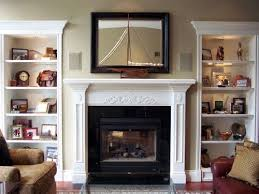 fireplace with bookshelves on both
