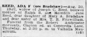 St. Louis Post Dispatch 31 Aug 1932 Ada Reed (Bradshaw) Obit -  Newspapers.com