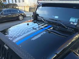 Automotive Graphics Decals Distressed American Flag Thin Blue Line Hood Decal Police Fits Jeeps And Trucks Topseven Mx