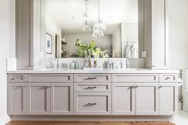 light gray dual bath vanity with