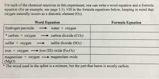 for each of the chemical reactions in