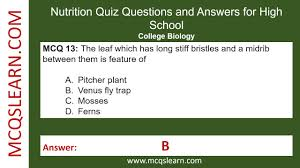 nutrition quiz questions and answers