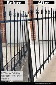 Diy Spray Painting Wrought Iron Fence Tutorial Thetarnishedjewelblog In 2020 Wrought Iron Fences Iron Fence Diy Spray Paint