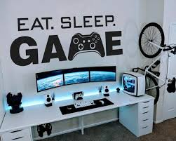 Eat Sleep Game Gamer Wall Decal Wall Decal Controller Video Game Wall Decals Customized Kids Bedroom Vinyl Wall Art In 2020 Boys Game Room Room Setup Game Room