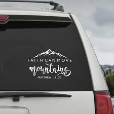 Faith Can Move Mountains Bible Verse Quote Decals Matthew 17 20 Vinyl Wall Sticker Christian Wall Decor For Home Car Laptop Wall Stickers Aliexpress
