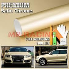 Satin Chrome Champagne Gold Vinyl Wrap Sticker Decal Sheet Film Bubble Free Ebay