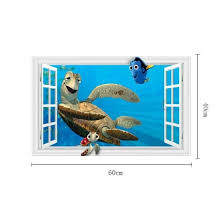 Shop Ocean Animal Fish Turtle 3d Window Diy Wall Sticker Vinyl Art Mural Room Decor Online From Best Wall Stickers Murals On Jd Com Global Site Joybuy Com