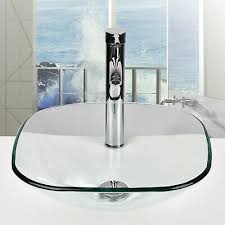 vessel sink tempered clear glass