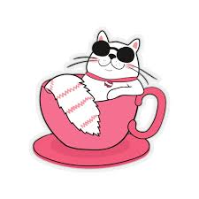 Cat In A Cup Stickers Sunglasses Happy Pink Red Laptop Vinyl Cute Wat Starcove Fashion