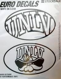 Amazon Com Unlv Running Rebels Nevada Las Vegas 2 Pack Euro Style Vinyl Oval Home Auto Decals Sticker University Of Sports Outdoors