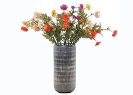 hand blown glass vase gray white color