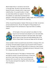 king arthur english esl worksheets