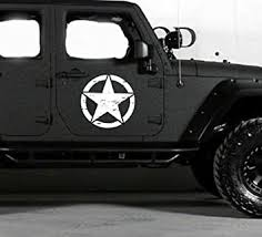 Amazon Com Oracal 2pc 18 Freedom Star Door Decalstruck Decal Sticker Compatible With Jeep Wrangler Rubicon Jk White Automotive