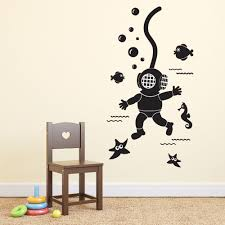 Deep Sea Scuba Diver Wall Sticker Removable Diy Wall Decals Child S Bedroom Decal Vinyl Decoration Buy At The Price Of 7 09 In Aliexpress Com Imall Com