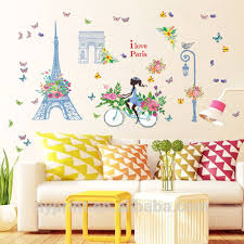 Sk9164 Romantic Eiffel Tower Paris Wall Decal France London Arch Of Triumph Removable Diy Room Home Wall Sticker Buy The Arch Wall Stickers Triumphal Arch Wall Decor Stickers Scenery Spot Home Decor Product