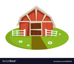 Red Wooden Barn With Fence On Green Lawn With Path