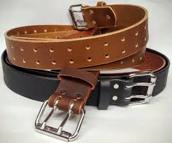 double holed leather belt 1 3 4 wide