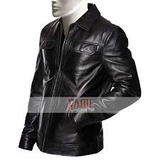 mens shirt style collar black leather