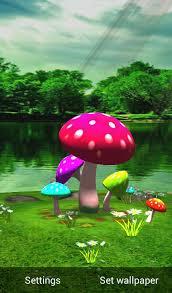 3d mushroom hd live wallpaper