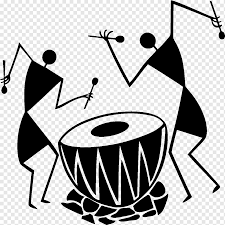 Two Person Playing Drum Artwork Warli Painting Wall Decal Design Monochrome Sticker Mural Png Pngwing