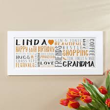 60th birthday gift for her of wall art