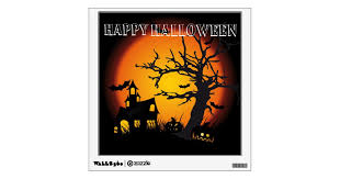 Halloween Custom Wall Decal Spooky Scene Wall Sticker Zazzle Com