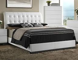 avery white queen bed w tufted faux