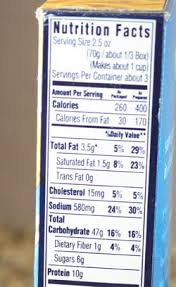 kraft mac and cheese nutrition label
