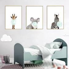 2020 Cute Animals Wall Art Canvas Zebra Giraffe Koala Blue Bubble Gum Poster Pictures For Kids Rooms Boys Girls Nursery Decor From Baibuju8 24 83 Dhgate Com