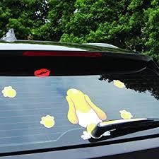 Amazon Com Bemost Car Styling Reflective Cartoon Dog Kiss Moving Tail 3d Animal Stickers Car Rear Window Windshield Wiper Decals 17 5x25cm Automotive