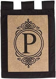 flag garden sub burlap monogram p