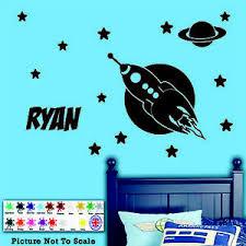 Rocket Personalised Name Wall Sticker Boys Bedroom Wallart Vinyl Decal Stars Ebay