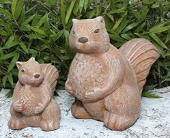 garden ornament squirrel set of 2