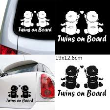 1 Pc Lovely Decoration Cartoon Reflective Window Decals Car Sticker Twins Baby On Board Wish