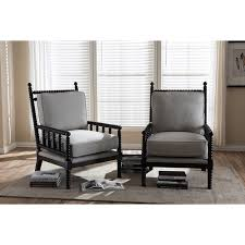 Hillary Wood Spindle-Back Accent Chair - Black and Beige Cushion (Set of 2)  | DCG Stores