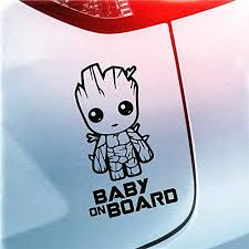 Amazon Com Yingkai Baby On Board Baby Groot Guardians Of The Galaxy Car Decal Vinyl Wall Decal Sticker Vinyl Lettering Removable Decal For Car Laptop Decoration Black Home Kitchen