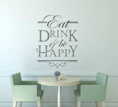 Eat Drink Be Happy Wall Decal Sticker Kitchen Wall Decal